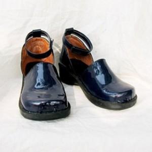 ブルー 合皮 ゴム底 コスプレコスプレ靴