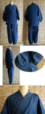 ルームウェアとして大人気な作務衣 メンズ作務衣 男女兼用作務衣セット ブルー