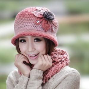 冬新品帽子+マフラー 花柄 韓派ニット帽子あったか