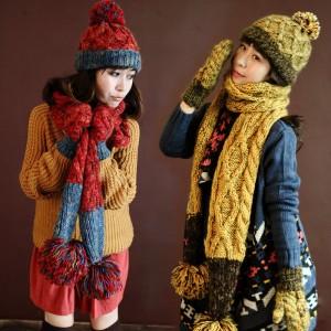 厚手あったか韓派毛糸帽子マフラー手袋3セット女