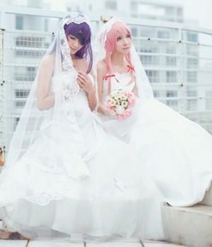 未来日記 我妻由乃(がさい ゆの) 白いウェディングドレス コスプレ衣装