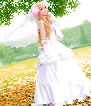 ソードアート・オンライン アスナXキリト結婚用のアスナウェディングドレス コスプレ衣装