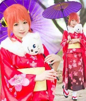 銀魂 春祭り 神楽(かぐら) 和服 コスプレ衣装
