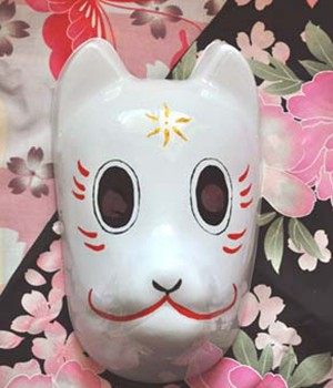 夏目友人帳 手作り 狐のお面(きつねのおめん) 和風 マスク コスプレ道具小物
