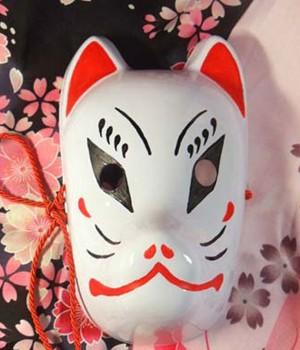 結ンデ開イテ羅刹ト骸 初音ミク 和風 手作り 狐のお面/マスク/仮面 コスプレ小物・道具