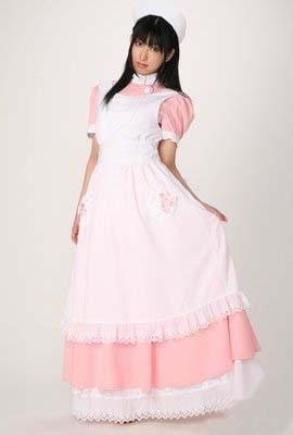 ロング ピンク メイド服 ナースさんスタイル コスプレ コスチューム