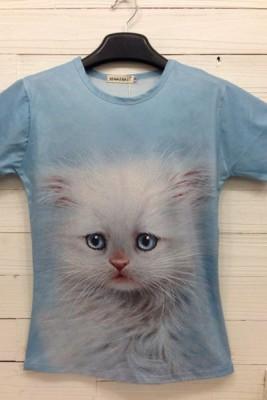 3Dおもしろい動物プリントTシャツ イタズラTシャツ 半袖Tシャツ