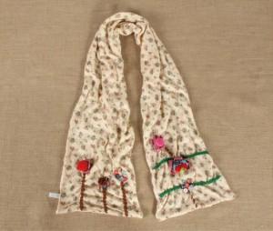 カワイイレースマフラー 韓国風秋冬女 ナチュラル花柄マフラーロングスカーフ