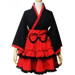 ゴスロリ系メイド コスプレ 和風メイド服 洋服 黒赤