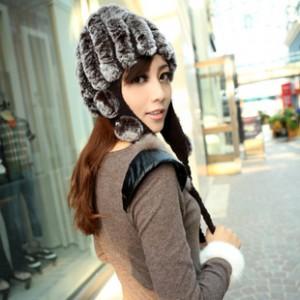 ボア帽子 ウサ耳帽子  女 冬 マフラー+ 帽子