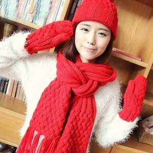 韓派帽子+手袋+マフラー3セット