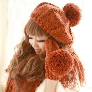 正規品女冬韓派フリルウールマフラー+手袋+帽子3セット