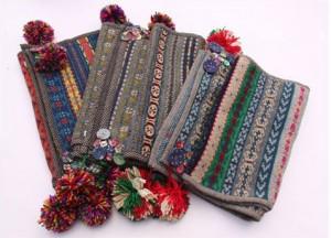 秋冬手作りフリト付女毛糸ニット防寒用マフラー ナチュラル ロングマフラー