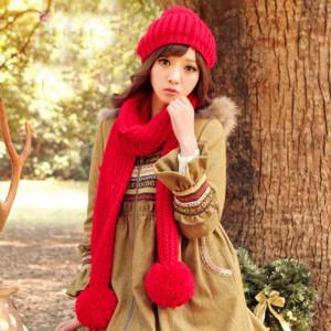 レッド女冬帽子マフラー2セット