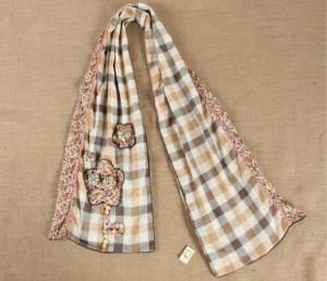 韓国風秋冬女花柄タータンマフラー  セール