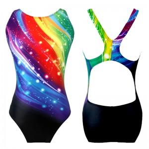 カラフルな女性の競泳水着 フィットネス