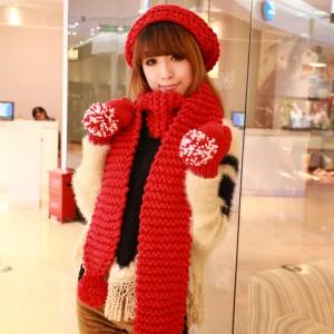 冬あったかセットニットアフラー 帽子 手袋セット3セット 誕生 プレゼント