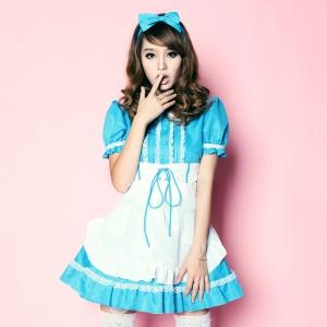 かわいく甘い青と白のポリエステルメイドスーツ メイド服 コスプレ