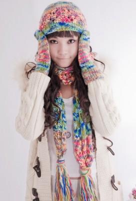 編み 女ウールニット混マフラー 手袋 帽子3セット