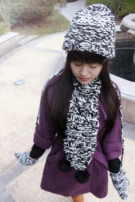 冬新品韓派女カワイイ編みマフラー 手袋 帽子3セット
