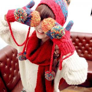 韓国欧米風秋冬女フリル帽子+手袋2セット