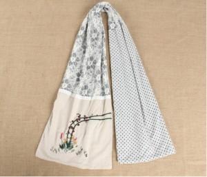 秋冬女ロングマフラーストール 刺繍レース ナチュラル花柄マフラー