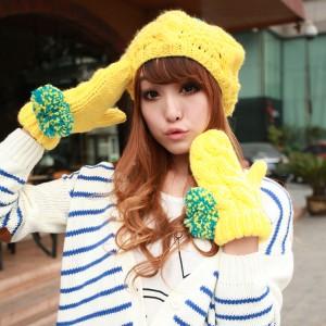 ニットあったか編み帽子+手袋2セット