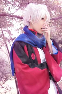 銀魂 坂田銀時(さかた ぎんとき) 冬装 黑红羽織 コスプレ