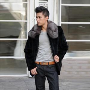 上質シルバーフォックスファー襟 メンズ ファーコート ビジネス
