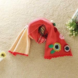 2013秋冬新品森ガールカラフル毛糸手作り花柄刺繍入り マフラー