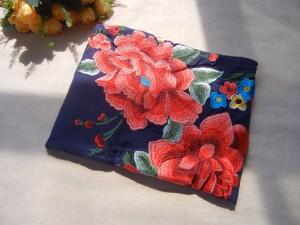 秋冬 民族風 ストールロング リンネルリバーシブル手作り刺繍厚手マフラー