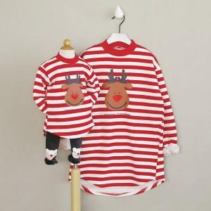 クリスマスカーバ 親子服 クリスマス鹿柄 レッド 家族全員着用可能 クリスマス衣装