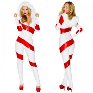 新品 クリスマスコスプレ 赤+白 長袖 女性 クリスマスコスチューム