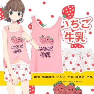 銀魂 坂田銀時 いちご 牛乳 寝巻き 平服 可能 女の子 可愛い パジャマ