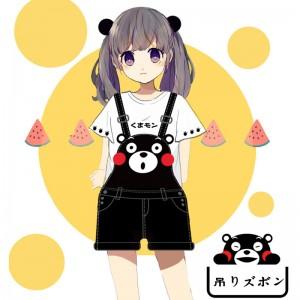 既製品!くまモン kumamon 吊りズボン+Tシャツ 2セット 日常用 コスプレ衣装