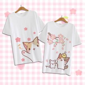 ねこあつめ 猫派 萌え萌え風 Tシャツ 短袖 日常可 コスプレ衣装