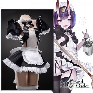【送料無料】Fate/Grand Order フェイトグランドオーダー FGO 酒呑童子  メイド服 コスプレ衣装 全セット 角 髪飾り ウィッグ