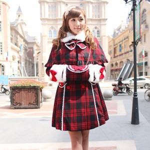 冬Lolitaロリータ  フランス 学院クラシック 厚手赤黒格子 マント ダブルボタン毛襟コート