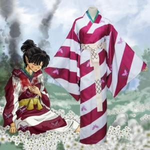 犬夜叉 神楽 コスプレ衣装 花柄 和服 現品 着物