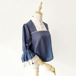 中国風ロリータ シャツフリル シフォン ホワイト ロリータ ブラウス シャツ コスプレ 衣装
