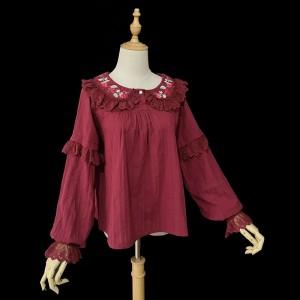 ゴスロリ ロリータ ブラウス シャツ リボン付き パンク ゴシック 宮廷風 ロリータ ワインレッド ホワイト ブラック 可愛い