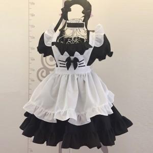 2017新品  メイド服 3点セット 萌え萌え風 猫耳 黒白 クラッシク メイド服