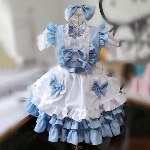 メイド服 青色 荷葉フリル 4点セット スカート コスプレ衣装 Lolita