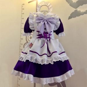 メイド服 紫色 荷葉フリル スカート コスプレ衣装 Lolita アリス・イン・ワンダーランド