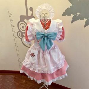 メイド服 薄いピンク 荷葉フリル スカート コスプレ衣装 Lolita アリス・イン・ワンダーランド