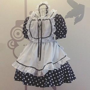 メイド服 ドットプリント 姫 セット 可愛い お姫様