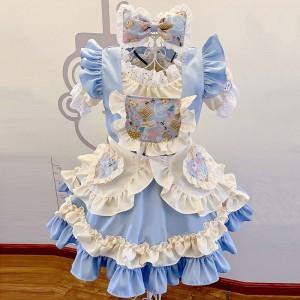 メイド服 lolita 華麗 セット クリーム色 ブルー 可愛い お姫様