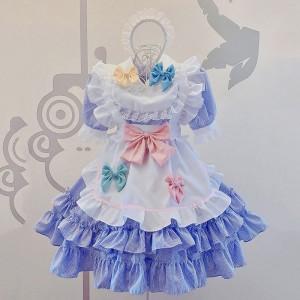 メイド服 荷葉裾 セット コスプレ 可愛い 蝶結び