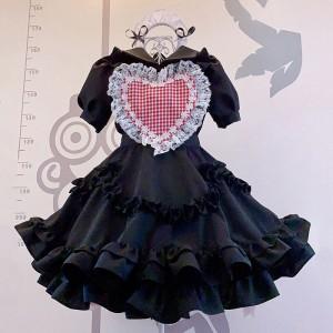 メイド服 ハート飾り 荷葉裾 セット 喫茶店 ブラック 可愛い レース
