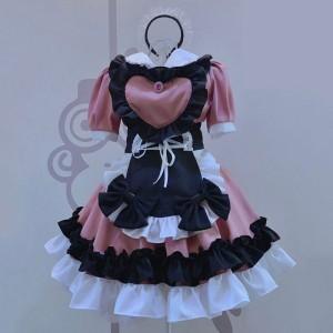 2021新品メイド服 黒色+ピンク ハートエプロン